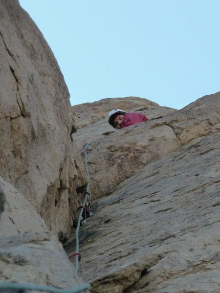 Rock Climbing Photo: At the top of knights move on the checkerboard wal...