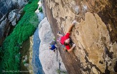 Rock Climbing Photo: The first ascentionists working the micro calcite ...