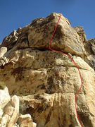 Rock Climbing Photo: Route shown in red