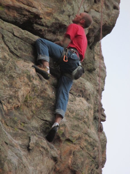 Adam gets a rest between the crux moves.