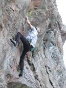 Rock Climbing Photo: FA Chuck on first crux.