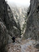 Rock Climbing Photo: The approach gully to the West Ridge route on Cast...