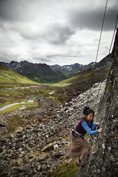 Sandra steps higher on Physical Attraction in Archangel Valley, Alaska. And yes (obviously) she does climb in a skirt! July 2013.