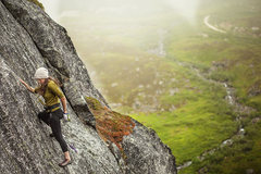 Rock Climbing Photo: Eliza chalks up, moving through a thin section of ...