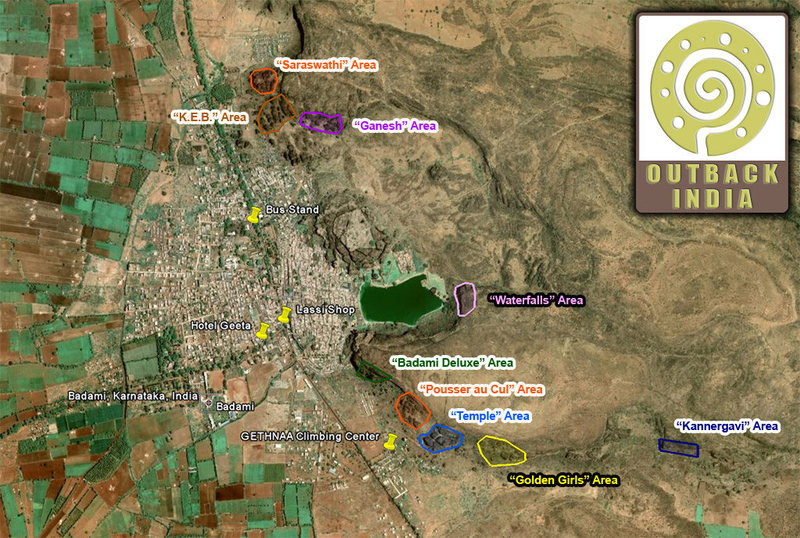 This is a map showing all the different climbing areas in Badami prepared by Outback India.