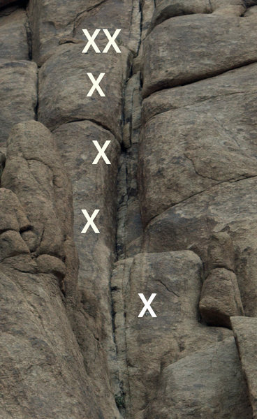 Rock Climbing Photo: A basic layout of the route and bolts.