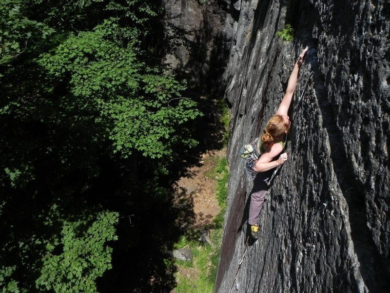 Crux moves on Seppuku Direct 5.12a