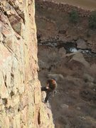 Rock Climbing Photo: Close up of the man...chillin' at the P2 belay dra...