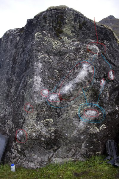 Rock Climbing Photo: Psycho Ex with Chalk.The holds in red are Psycho E...