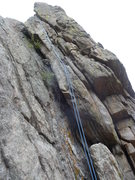 Rock Climbing Photo: The crack is to the right of the rope.
