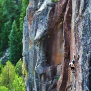 Rock Climbing Photo: The stretchy, crimpy crux of Rumbleseat 5.12.