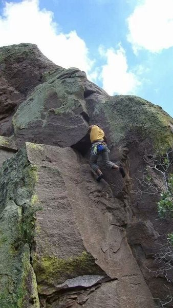 Rock Climbing Photo: Leading Rocket Science. This is above the crux.