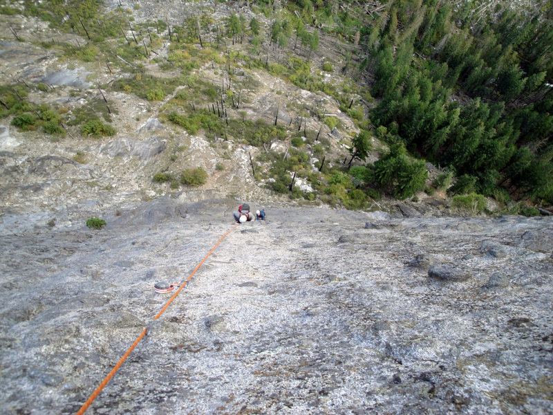 Rock Climbing Photo: looking down from the top of the 5th pitch