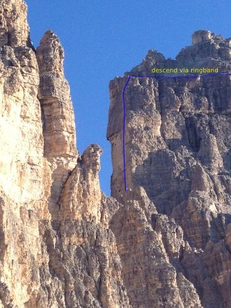 Rock Climbing Photo: top half of Dulfer viewed from Rifigio Auronzo. Co...