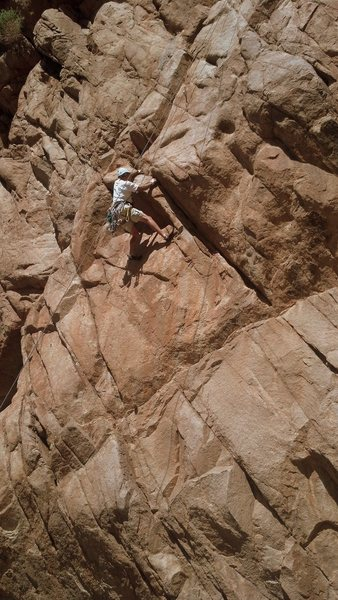 Jim working at the cruxy section after coming out of the crack