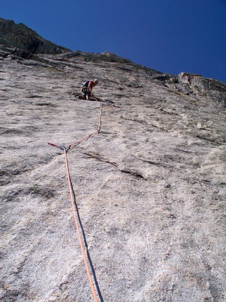 Baldy above the crux of pitch 3