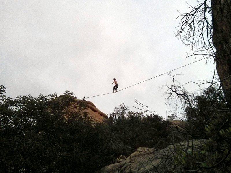 Rock Climbing Photo: A slackline at Stoney Point?!  Cool!