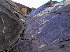 Rock Climbing Photo: 3rd pitch, Gordon leading.