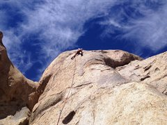Rock Climbing Photo: High up on the first ascent of Crystal Tips, 5.10b
