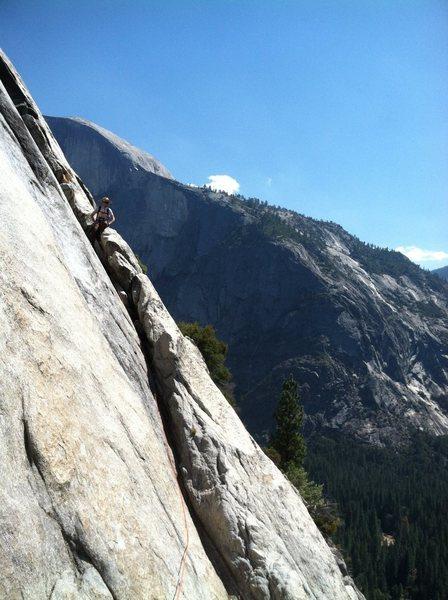 Rock Climbing Photo: George on the traverse pitch just past the pendulu...