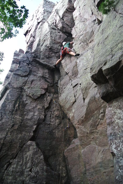 Young climber from UW Madison Hoofer's on his first lead of Primak's Surprise.  No doubt finding out what the name is all about.