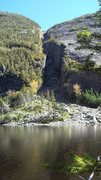 Rock Climbing Photo: Looking at the Trap Dike from across the lake, tra...