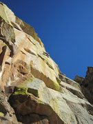 Rock Climbing Photo: Jimbo taking a run at the FA on this extremely var...