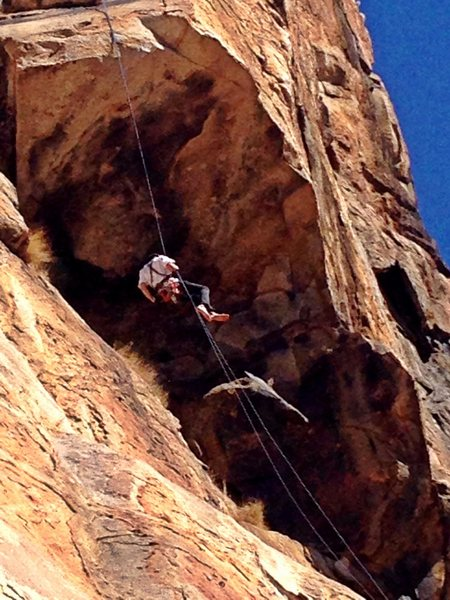 Rock Climbing Photo: Rappelling over the roof. Good day