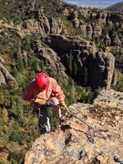 Rock Climbing Photo: Rappelling off of the top of the 300' tower King K...