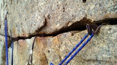 Rock Climbing Photo: A classic collection of rust at the top of P1 of R...