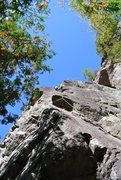 Rock Climbing Photo: Looking up at Manny as he negotiates the steeper p...