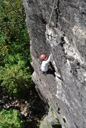 Rock Climbing Photo: gblauer working her way up the climb. Good frictio...