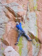 Rock Climbing Photo: Jimbo on the FA.  Gear can be had where the red sl...