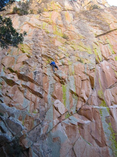 Rock Climbing Photo: Jimbo moving back left to the main weakness on the...
