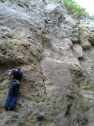 Rock Climbing Photo: Starting to move up and to the right after the fir...