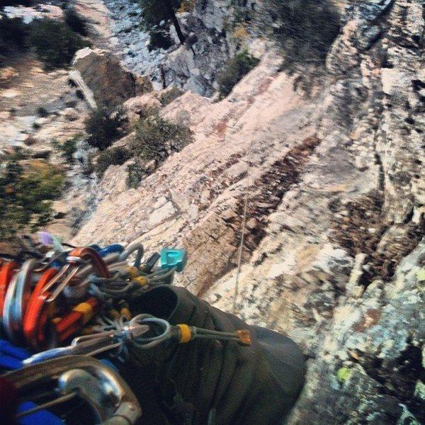 Rock Climbing Photo: Sheep Canyon Spire down below