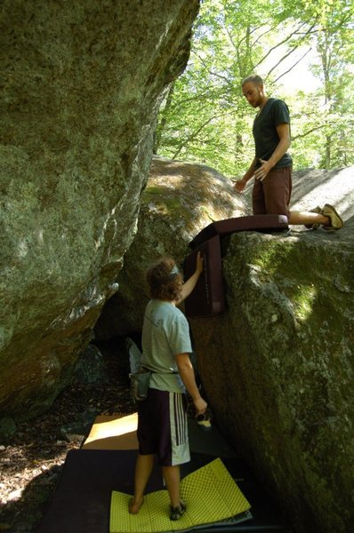 Rock Climbing Photo: Very helpful to have a pad and spotter on the boul...