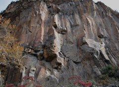 Rock Climbing Photo: Orange line follows Thin Faith