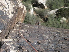 Rock Climbing Photo: Looking down Pitch 1 from about the half way point...