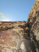 Rock Climbing Photo: If doing the route in three long pitches, this is ...