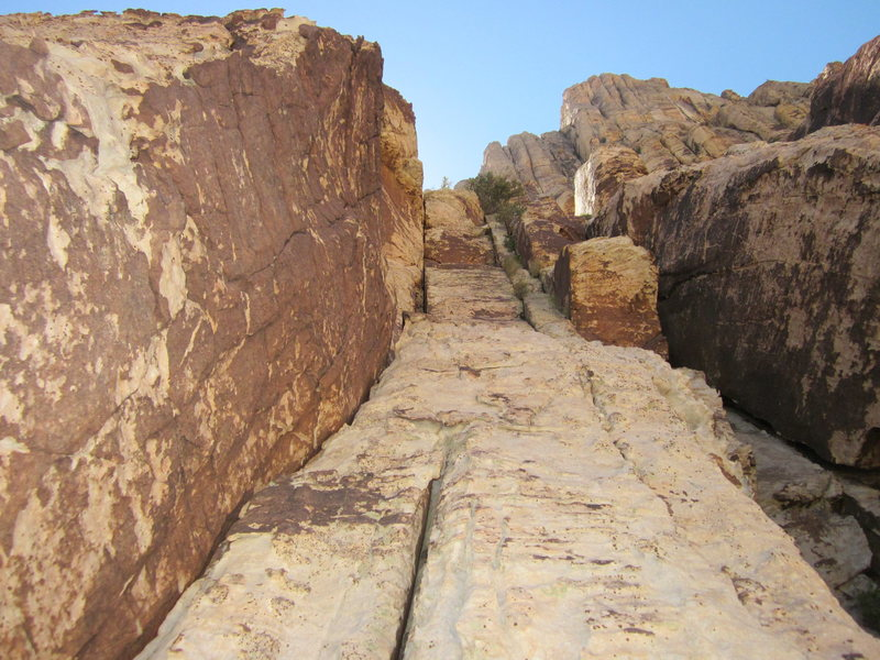 Rock Climbing Photo: Looking up at the final pitch.  We stayed in the l...
