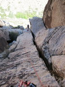 Rock Climbing Photo: Looking down the final pitch before pulling over t...