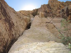 Rock Climbing Photo: Looking up at the last pitch after you pass the lo...