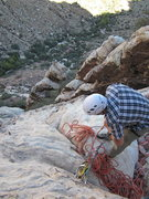 Rock Climbing Photo: Looking down from the second bolted rap station.  ...