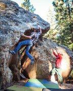 Rock Climbing Photo: Sticking the big move.