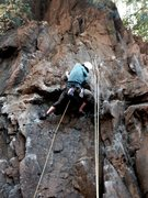 Rock Climbing Photo: Jack clipping in at the crux of Bottom Fishing - B...