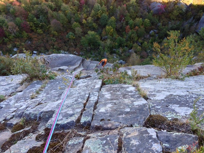 Rock Climbing Photo: View from the belay atop pitch 3 of Fastest Gun.