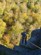 Rock Climbing Photo: Rap 2 - about to pendulum into the wall and disloc...