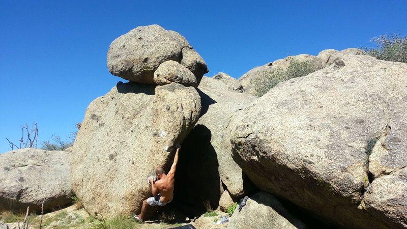 Rock Climbing Photo: Throw to small black knob.