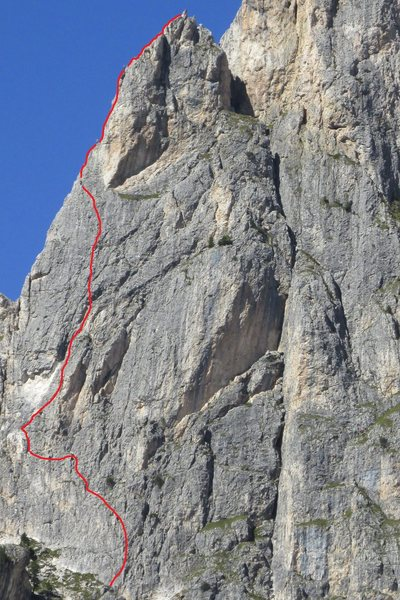 Approximate line of route@SEMICOLON@ actual start may vary. Several starts are possible. 3 climbers are visible on high resolution enlargement.